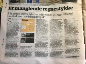 """""""Et manglende regnestykke"""" Ullevål Sykehus er vedtatt nedlagt til en stor kostnad"""