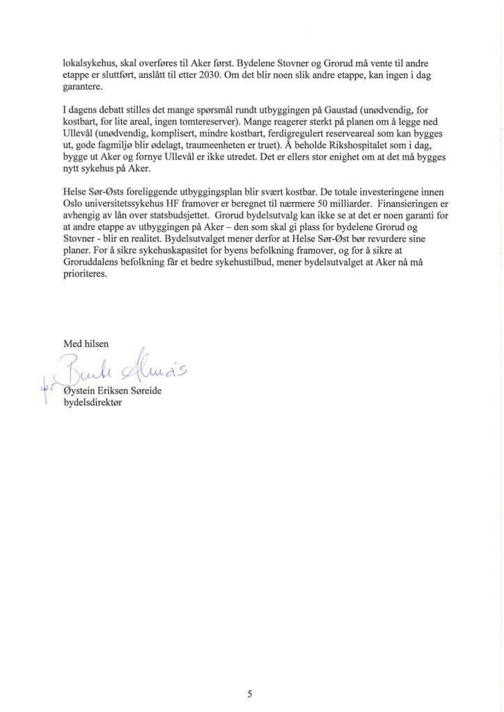 Uttalelsen om regional utviklingsplan for Helse Sø-Øst - Redd Ullevål Sykehus