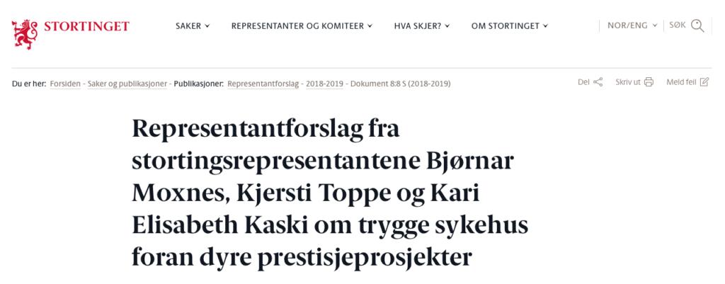 Bjørnar Moxnes, Kjersti Toppe og Kari Elisabeth Kaski - representantforslag fremsatt for Stortinget om å bevare Ullevål sykehus