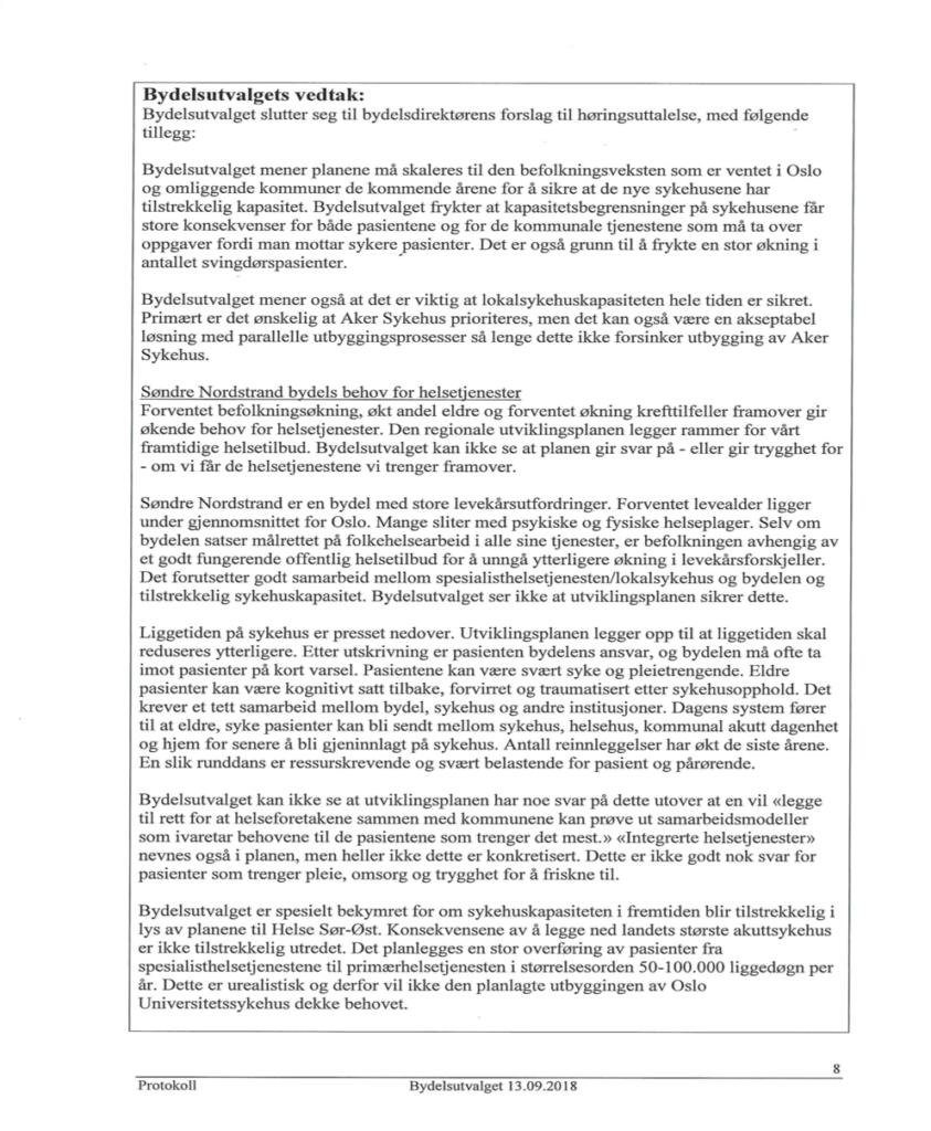 Innspill til høring om regional utviklingsplan for Helse Sør-Øst fra bydel Søndre Nordstrand