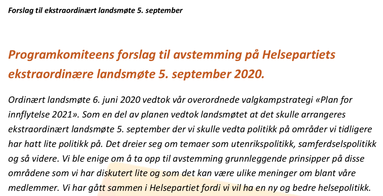 Velkommen til ekstraordinært landsmøte i Helsepartiet 5. september